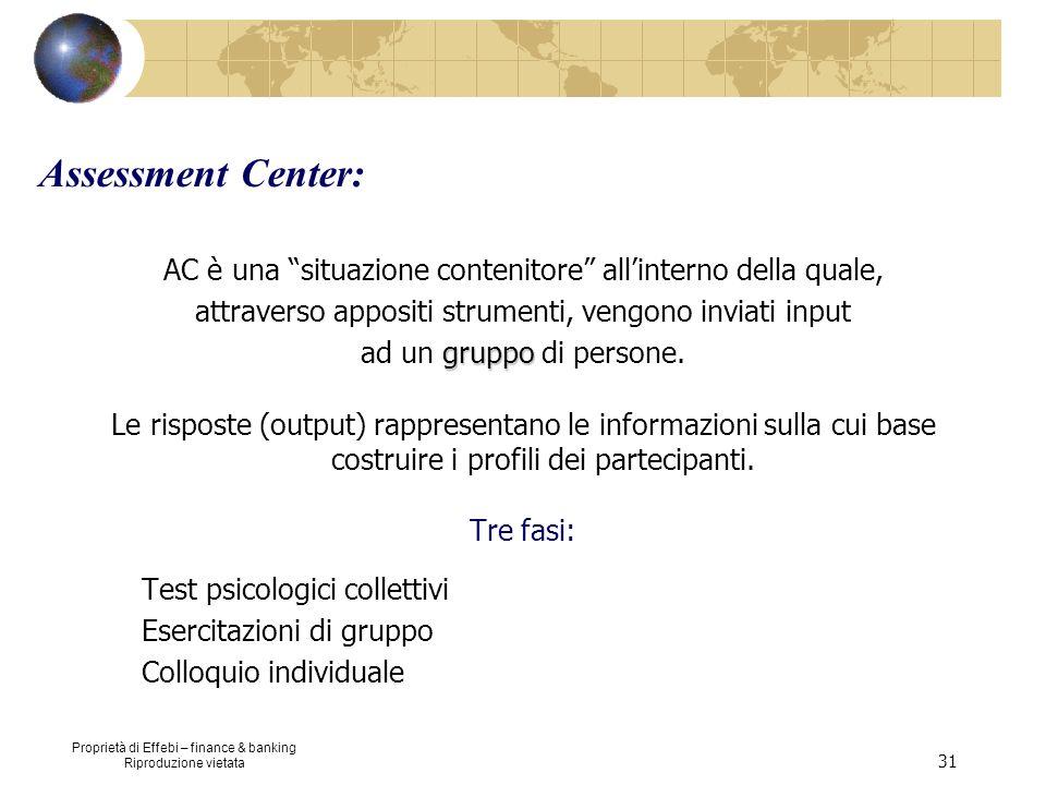 Assessment Center:AC è una situazione contenitore all'interno della quale, attraverso appositi strumenti, vengono inviati input.