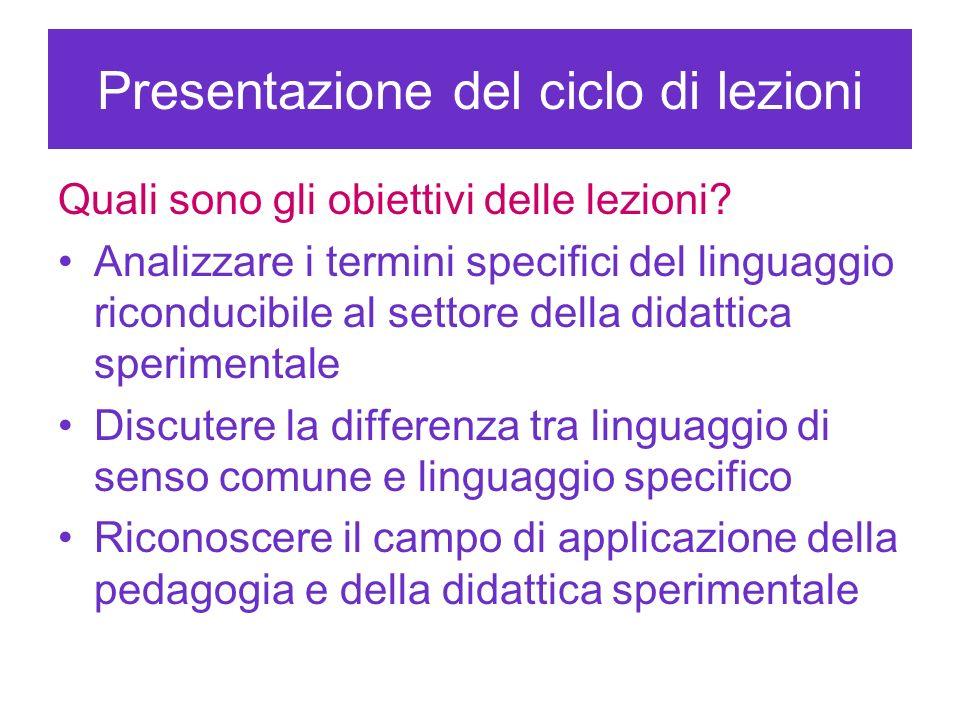 Presentazione del ciclo di lezioni