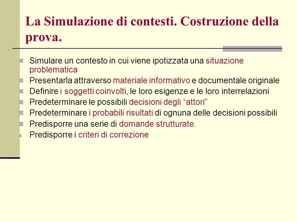 La Simulazione di contesti. Costruzione della prova.