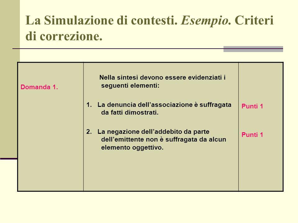 La Simulazione di contesti. Esempio. Criteri di correzione.