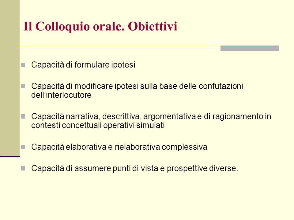 Il Colloquio orale. Obiettivi