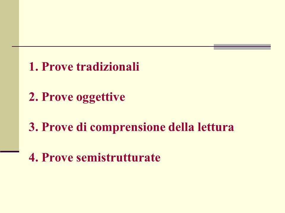 1. Prove tradizionali 2. Prove oggettive 3