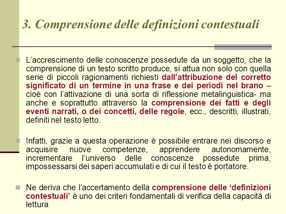 3. Comprensione delle definizioni contestuali
