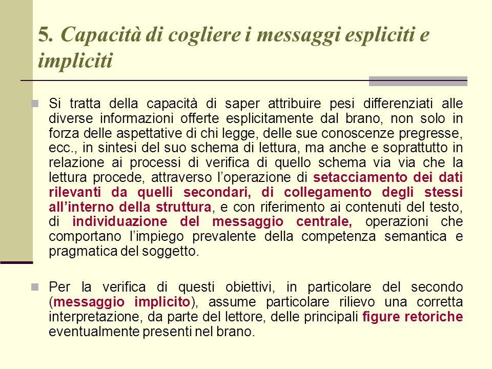 5. Capacità di cogliere i messaggi espliciti e impliciti
