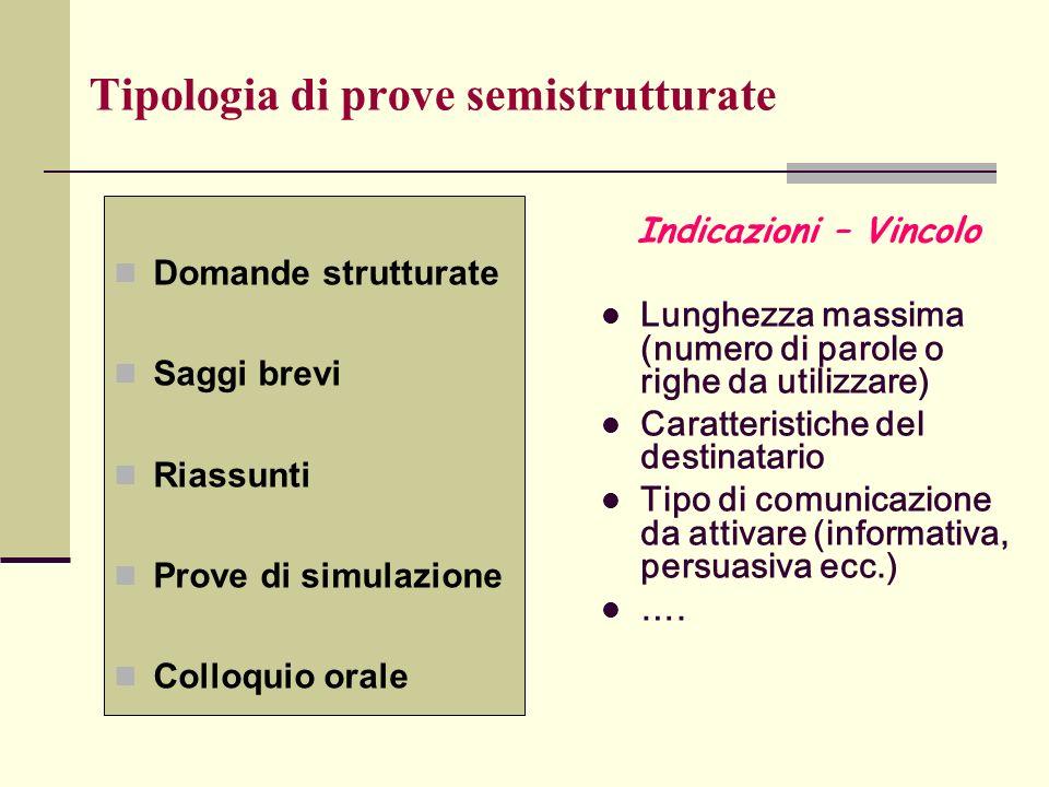 Tipologia di prove semistrutturate