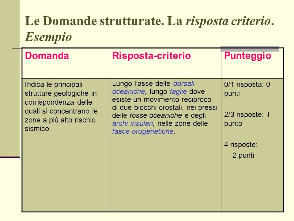 Le Domande strutturate. La risposta criterio. Esempio