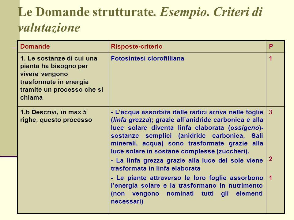 Le Domande strutturate. Esempio. Criteri di valutazione
