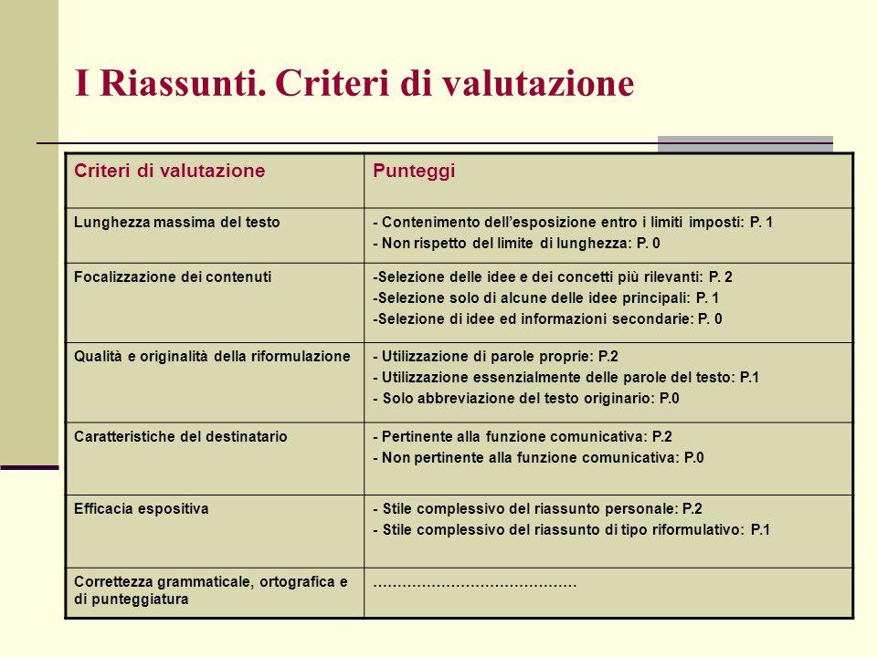 I Riassunti. Criteri di valutazione