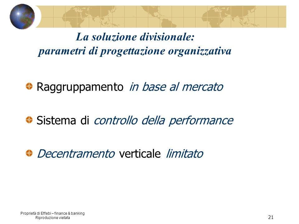 La soluzione divisionale: parametri di progettazione organizzativa