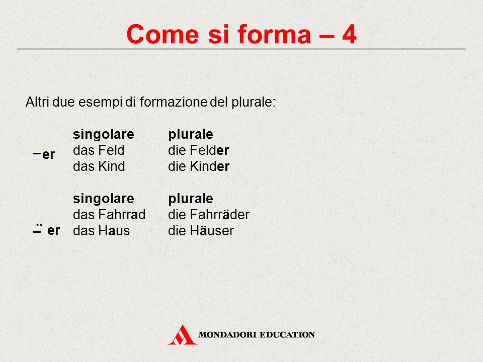 Come si forma – 4 Altri due esempi di formazione del plurale: