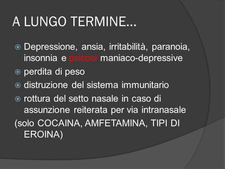 A LUNGO TERMINE… Depressione, ansia, irritabilità, paranoia, insonnia e psicosi maniaco-depressive.