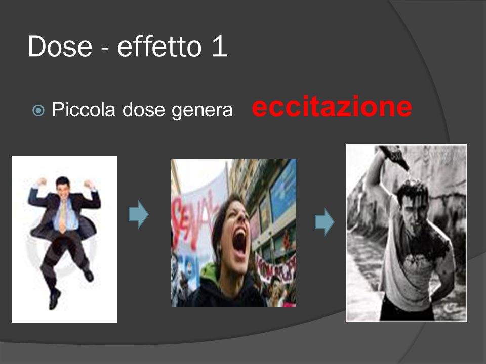 Dose - effetto 1 Piccola dose genera eccitazione