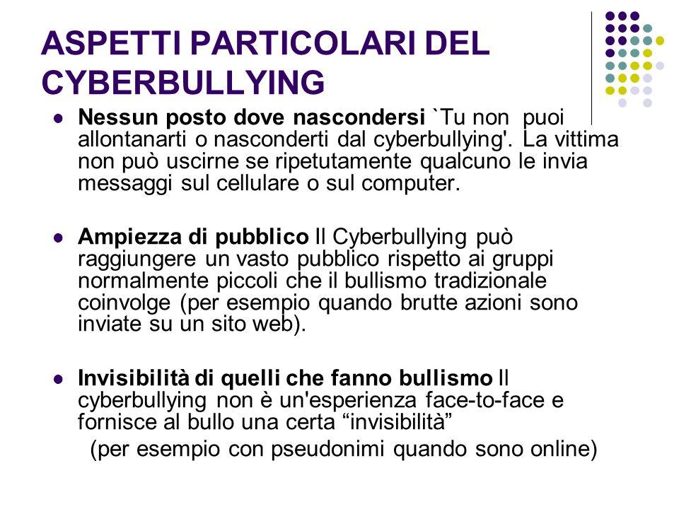 ASPETTI PARTICOLARI DEL CYBERBULLYING