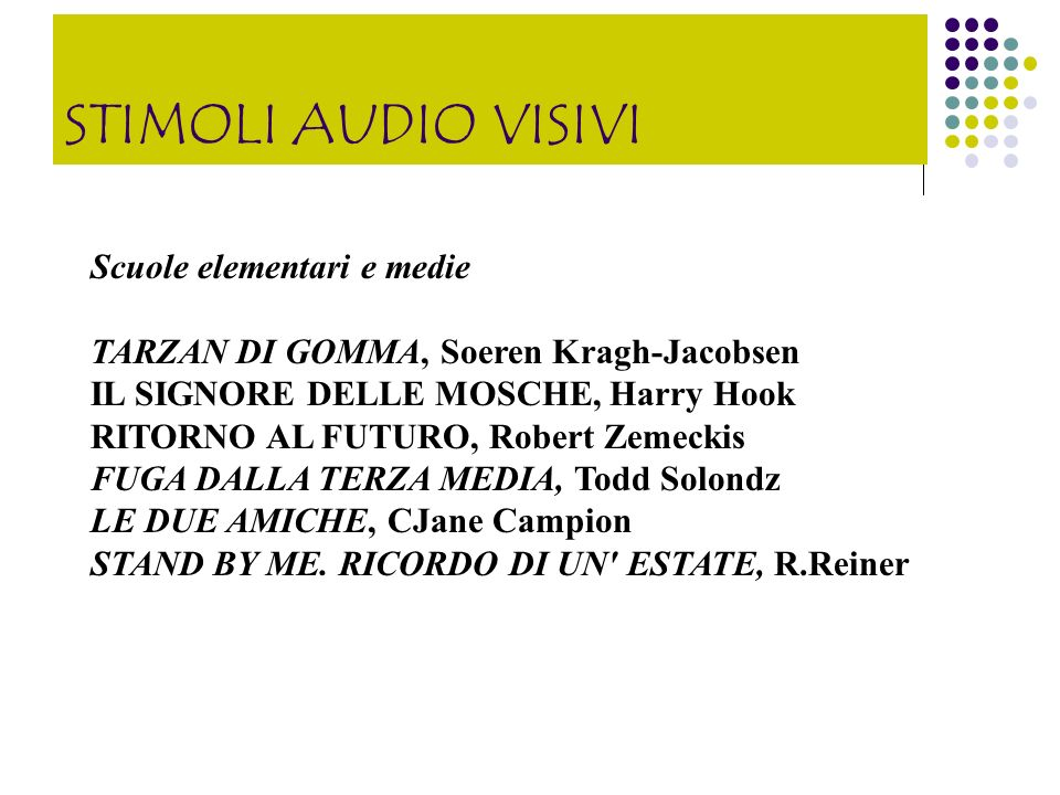 STIMOLI AUDIO VISIVI Scuole elementari e medie
