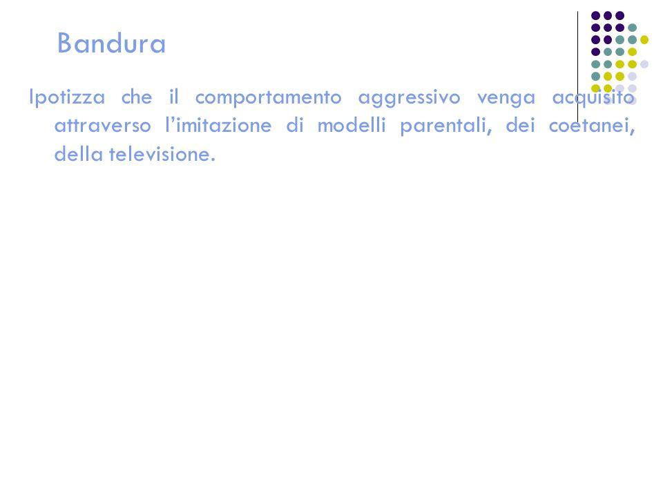 Bandura Ipotizza che il comportamento aggressivo venga acquisito attraverso l'imitazione di modelli parentali, dei coetanei, della televisione.