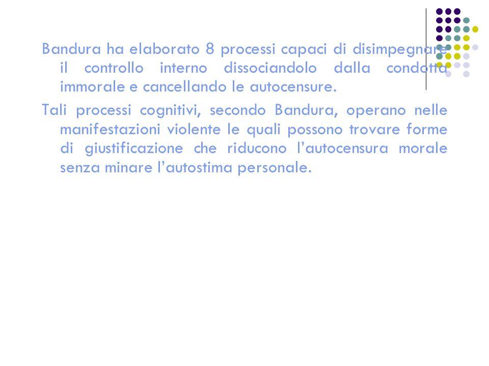 Bandura ha elaborato 8 processi capaci di disimpegnare il controllo interno dissociandolo dalla condotta immorale e cancellando le autocensure.