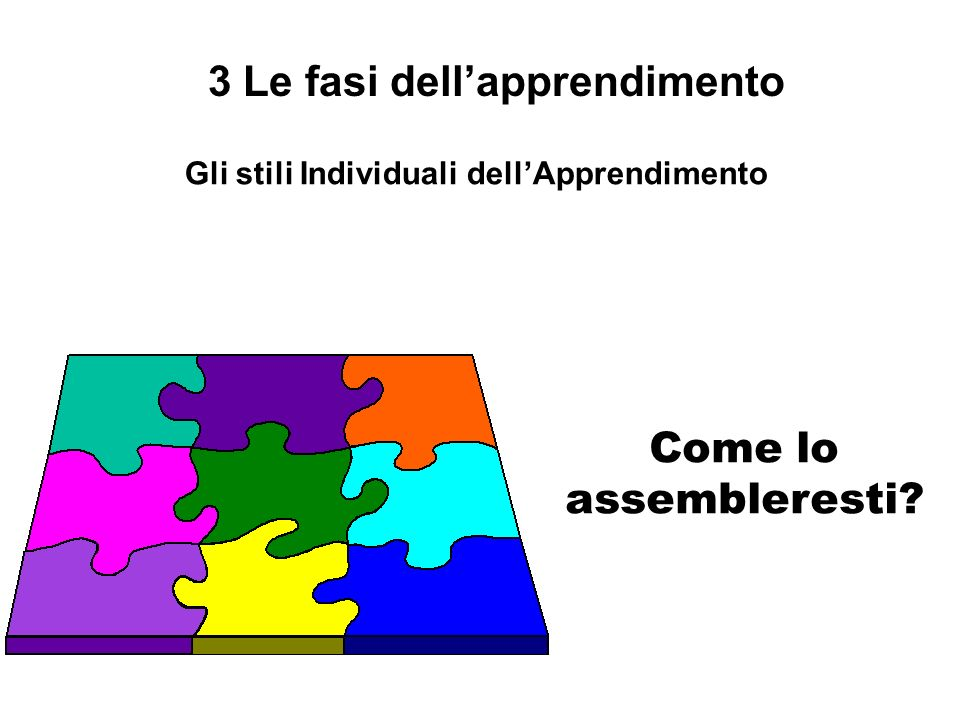 3 Le fasi dell'apprendimento Gli stili Individuali dell'Apprendimento