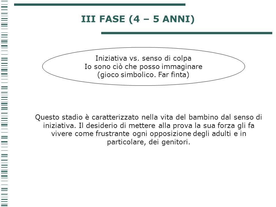 III FASE (4 – 5 ANNI) Iniziativa vs. senso di colpa