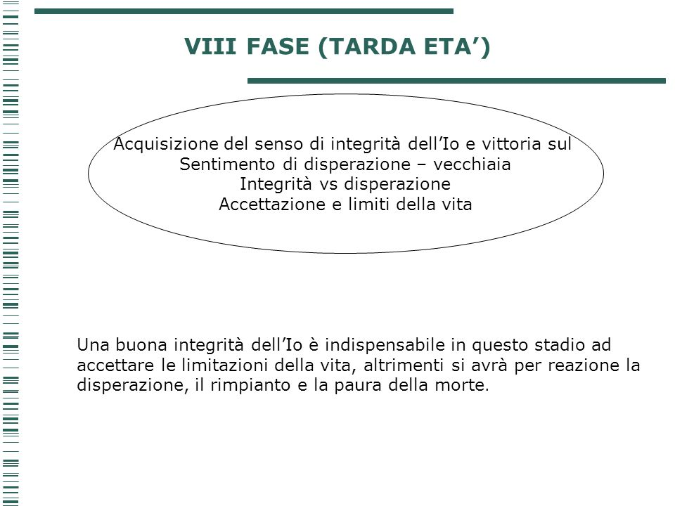VIII FASE (TARDA ETA') Acquisizione del senso di integrità dell'Io e vittoria sul. Sentimento di disperazione – vecchiaia.