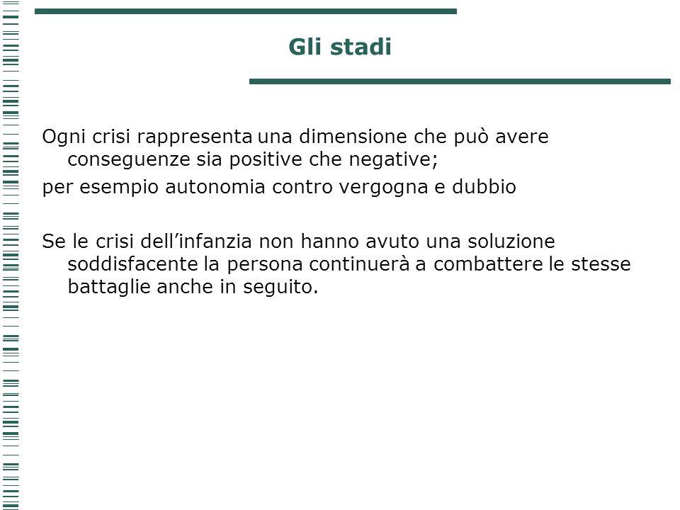 Gli stadi Ogni crisi rappresenta una dimensione che può avere conseguenze sia positive che negative;