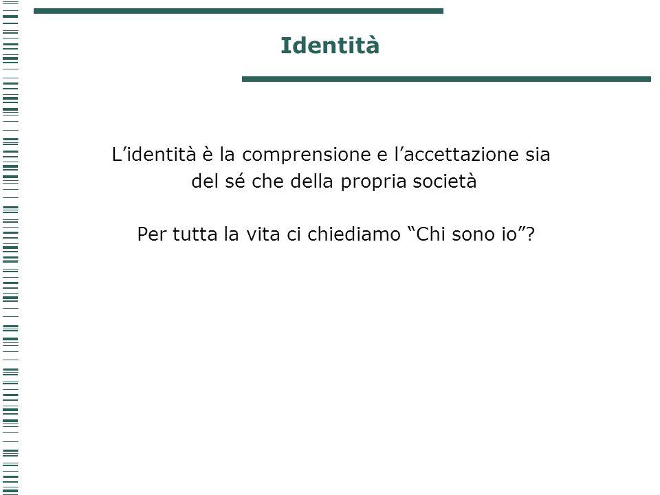 Identità L'identità è la comprensione e l'accettazione sia