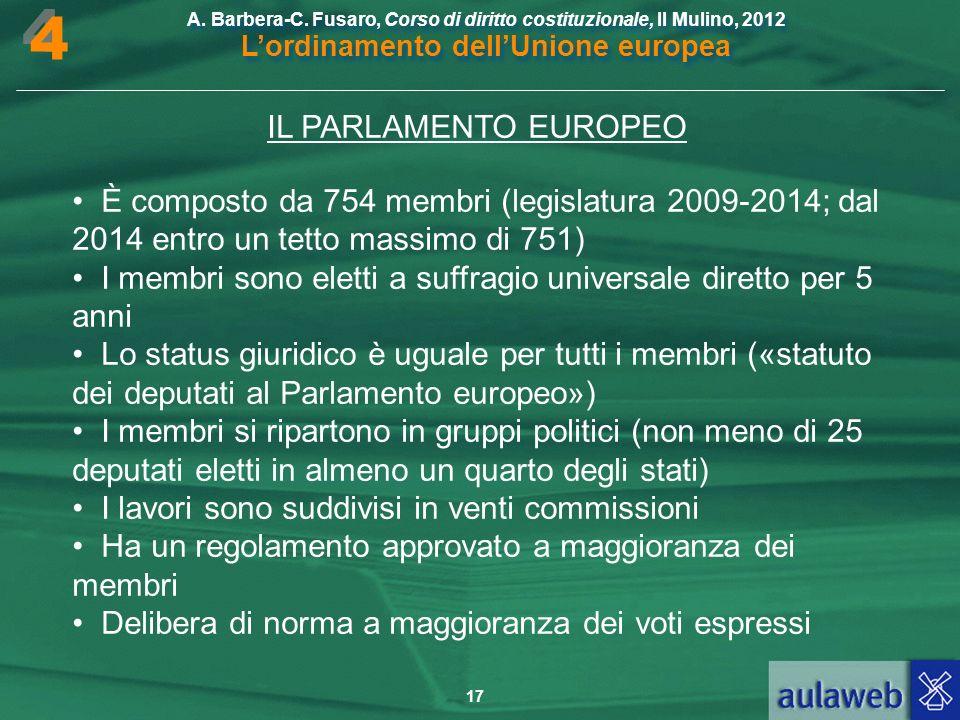 4 IL PARLAMENTO EUROPEO. • È composto da 754 membri (legislatura 2009-2014; dal 2014 entro un tetto massimo di 751)