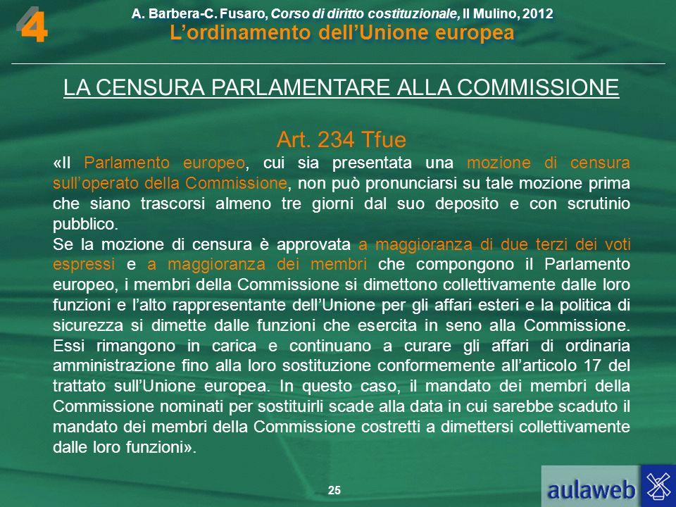 LA CENSURA PARLAMENTARE ALLA COMMISSIONE