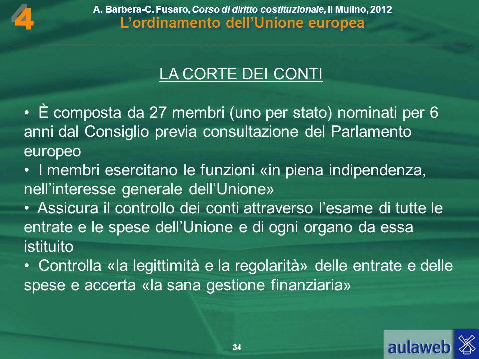 4 LA CORTE DEI CONTI. • È composta da 27 membri (uno per stato) nominati per 6 anni dal Consiglio previa consultazione del Parlamento europeo.