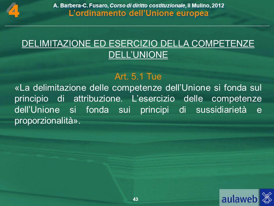 DELIMITAZIONE ED ESERCIZIO DELLA COMPETENZE DELL'UNIONE
