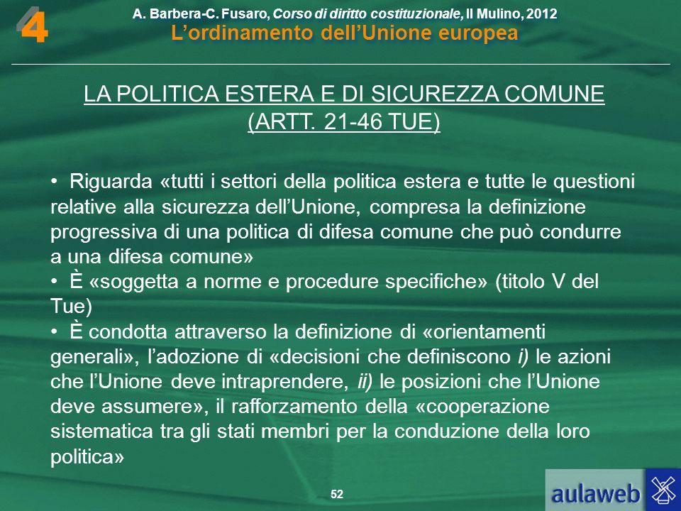LA POLITICA ESTERA E DI SICUREZZA COMUNE (ARTT. 21-46 TUE)