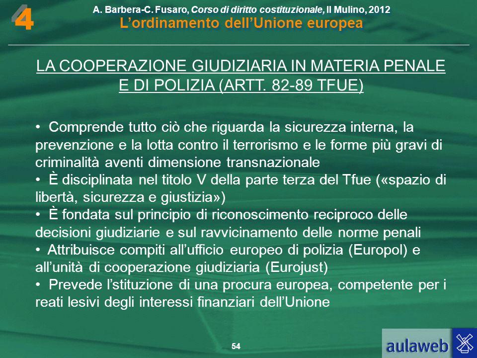 4 LA COOPERAZIONE GIUDIZIARIA IN MATERIA PENALE E DI POLIZIA (ARTT. 82-89 TFUE)