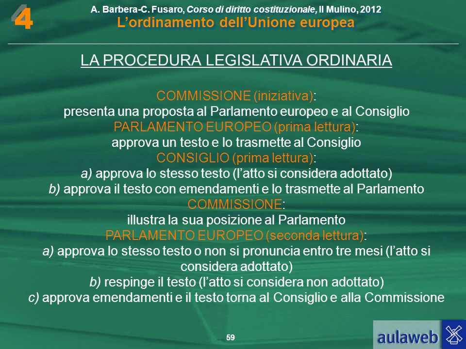 4 LA PROCEDURA LEGISLATIVA ORDINARIA COMMISSIONE (iniziativa):