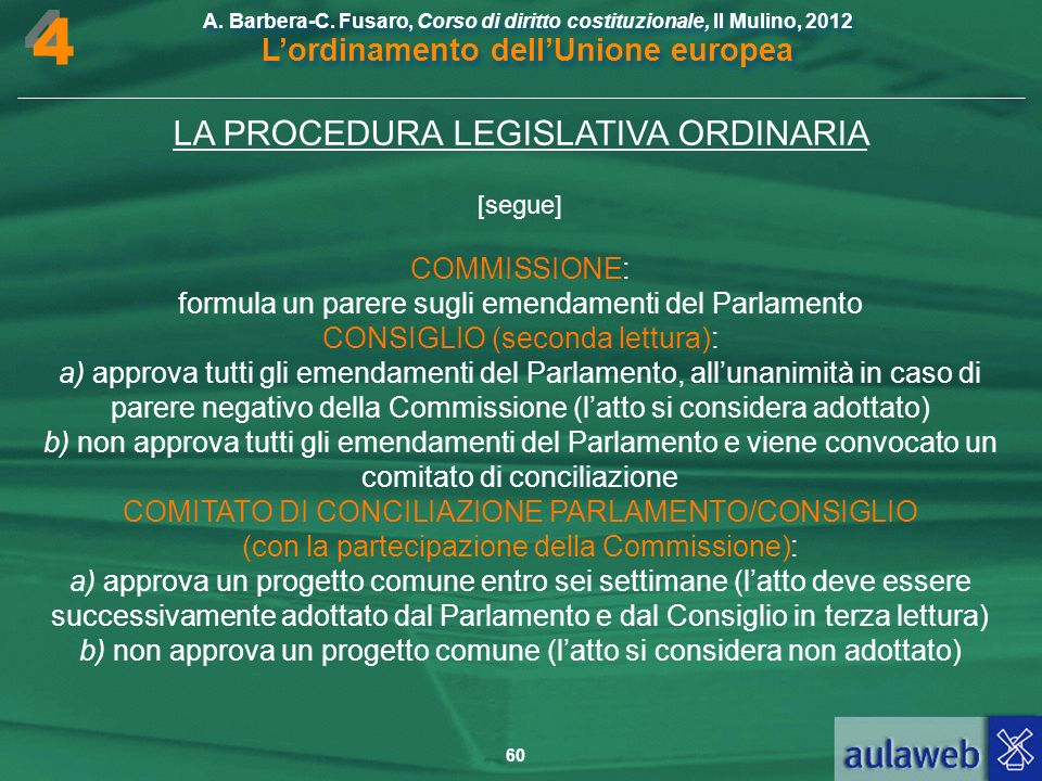 4 LA PROCEDURA LEGISLATIVA ORDINARIA COMMISSIONE: