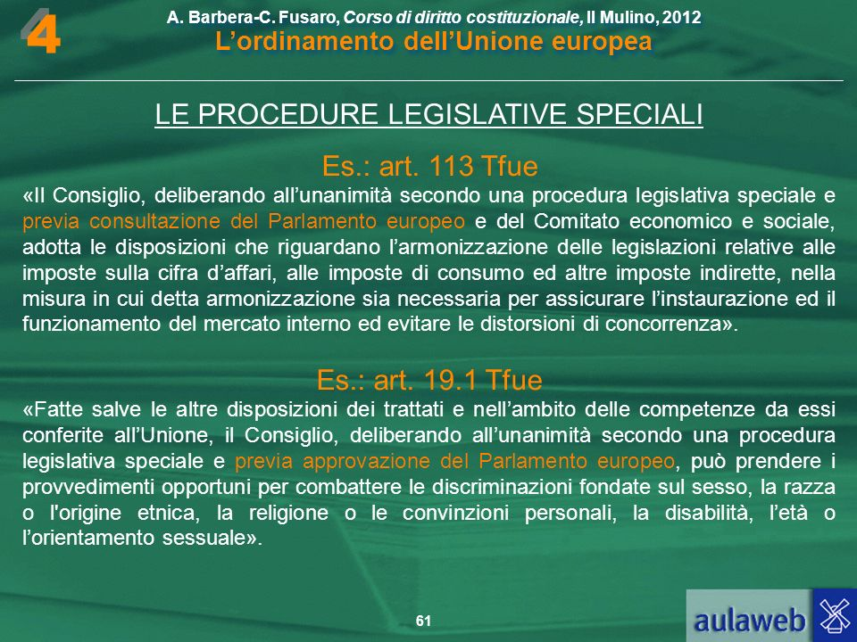 LE PROCEDURE LEGISLATIVE SPECIALI