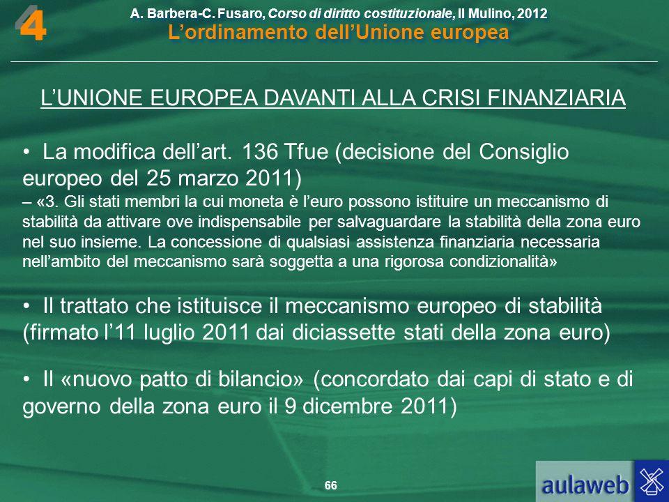 L'UNIONE EUROPEA DAVANTI ALLA CRISI FINANZIARIA