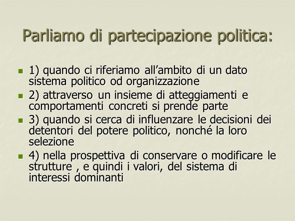 Parliamo di partecipazione politica: