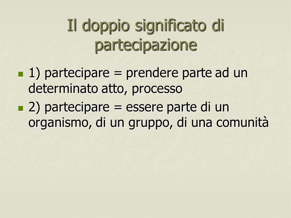 Il doppio significato di partecipazione