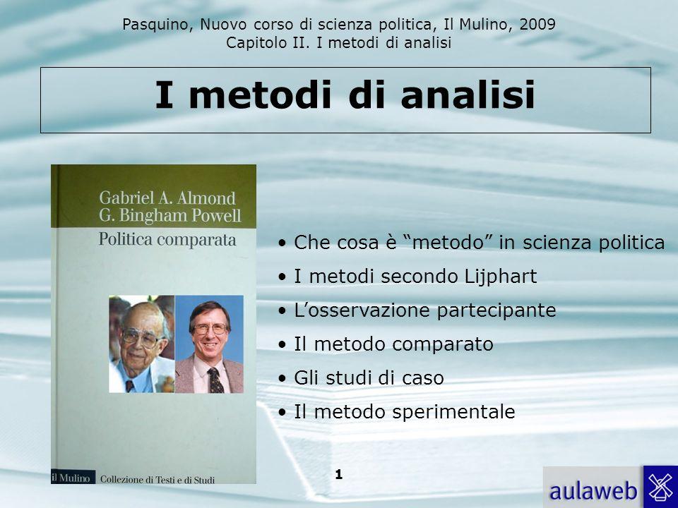 I metodi di analisi Che cosa è metodo in scienza politica