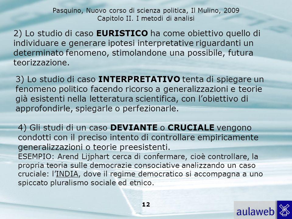 2) Lo studio di caso EURISTICO ha come obiettivo quello di individuare e generare ipotesi interpretative riguardanti un determinato fenomeno, stimolandone una possibile, futura teorizzazione.
