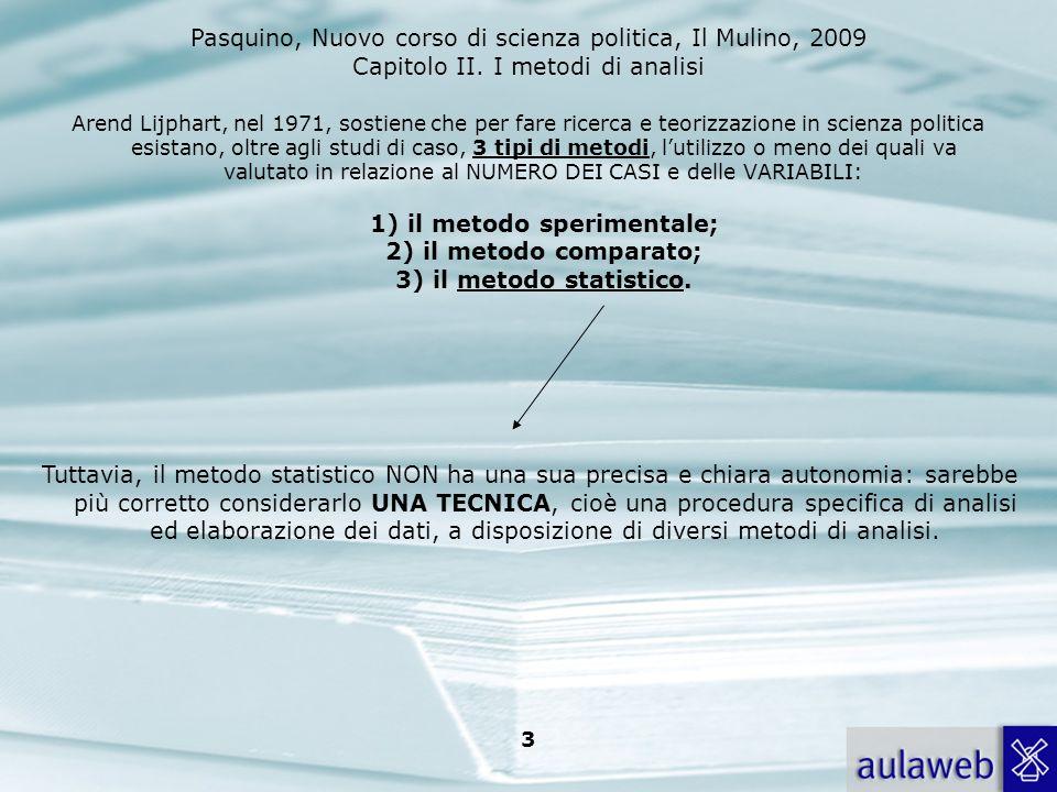 Arend Lijphart, nel 1971, sostiene che per fare ricerca e teorizzazione in scienza politica esistano, oltre agli studi di caso, 3 tipi di metodi, l'utilizzo o meno dei quali va valutato in relazione al NUMERO DEI CASI e delle VARIABILI: 1) il metodo sperimentale; 2) il metodo comparato; 3) il metodo statistico.