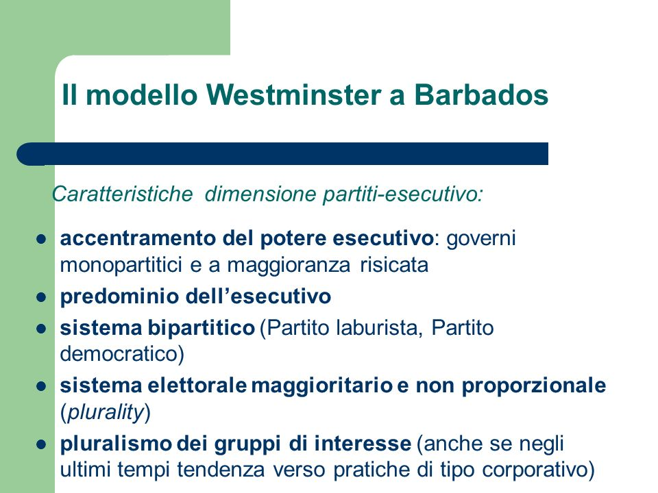 Il modello Westminster a Barbados