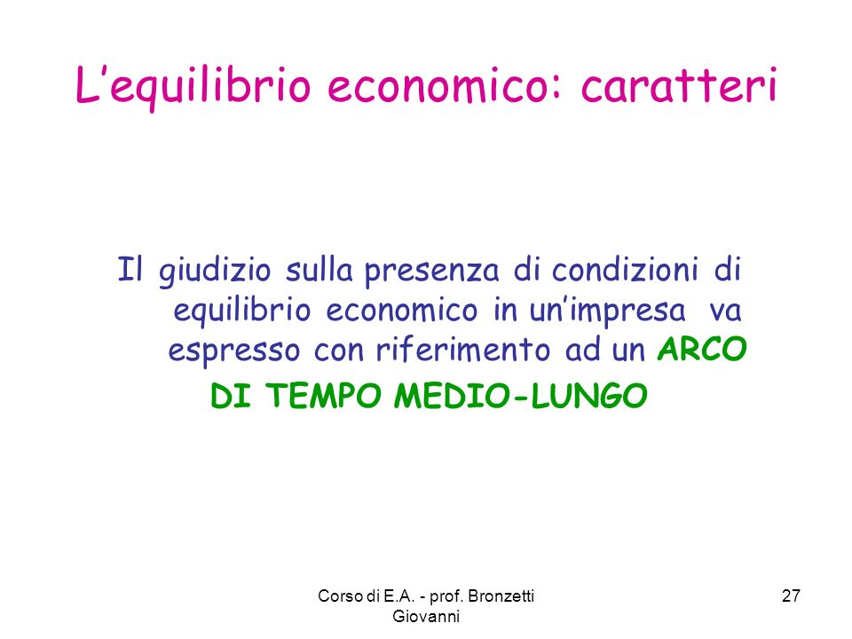 L'equilibrio economico: caratteri