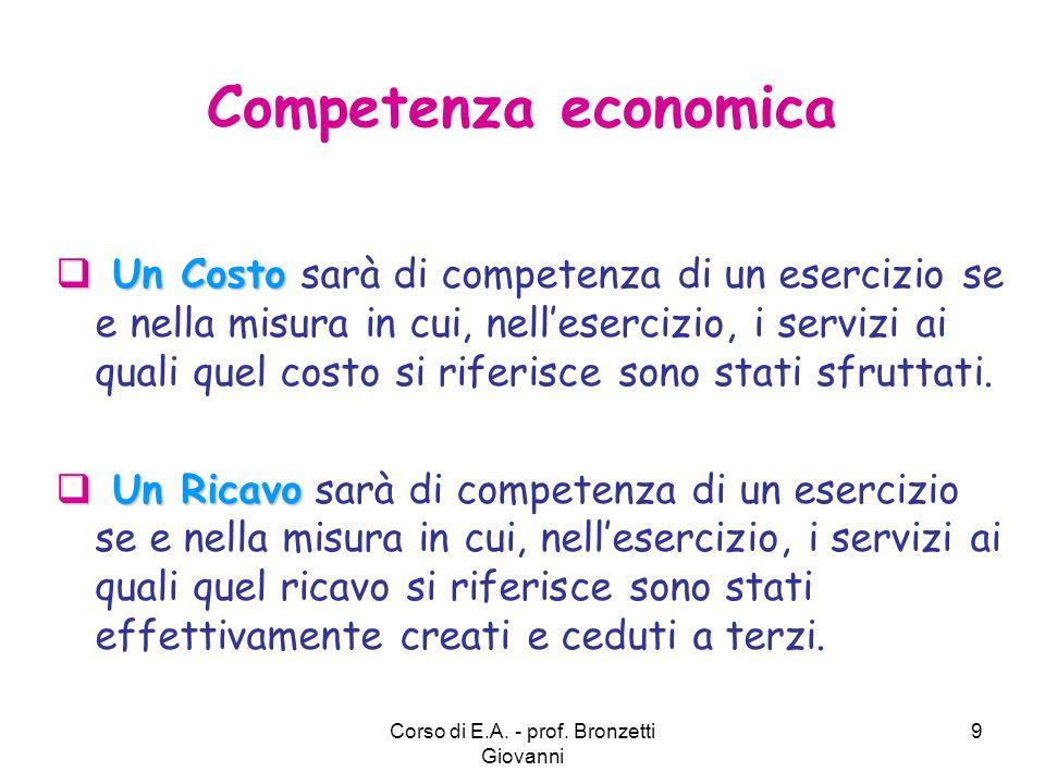 Corso di E.A. - prof. Bronzetti Giovanni