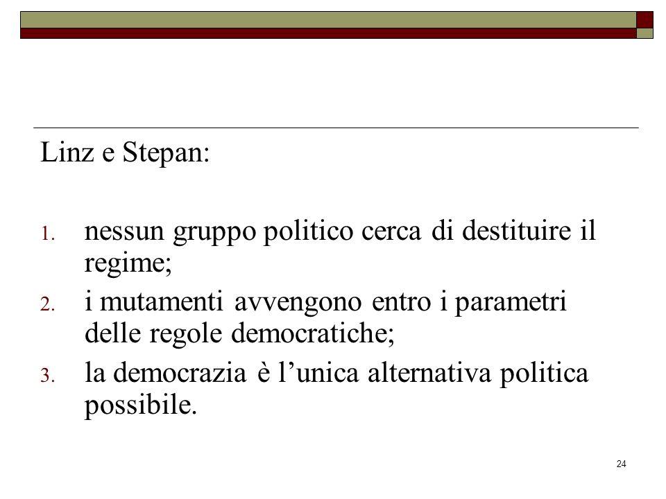 Linz e Stepan: nessun gruppo politico cerca di destituire il regime; i mutamenti avvengono entro i parametri delle regole democratiche;