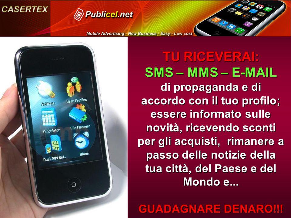 TU RICEVERAI: SMS – MMS – E-MAIL