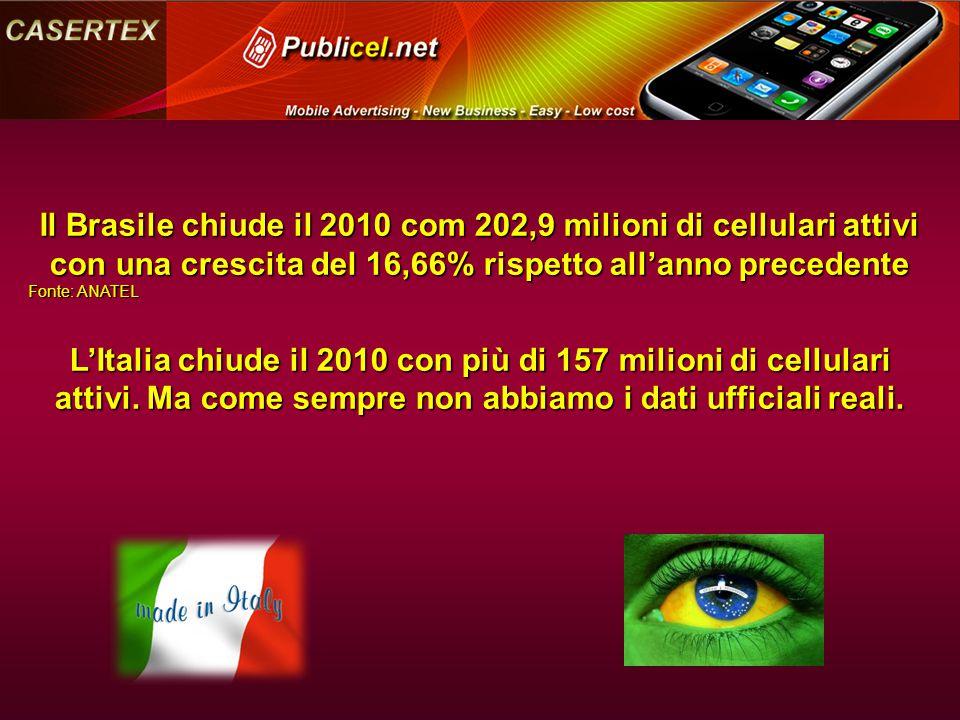 Il Brasile chiude il 2010 com 202,9 milioni di cellulari attivi