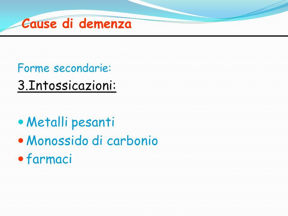Cause di demenza 3.Intossicazioni: Metalli pesanti