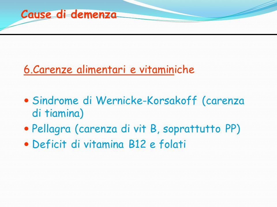 Cause di demenza 6.Carenze alimentari e vitaminiche