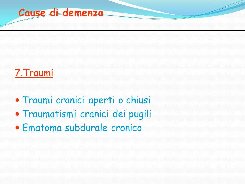 Cause di demenza 7.Traumi Traumi cranici aperti o chiusi