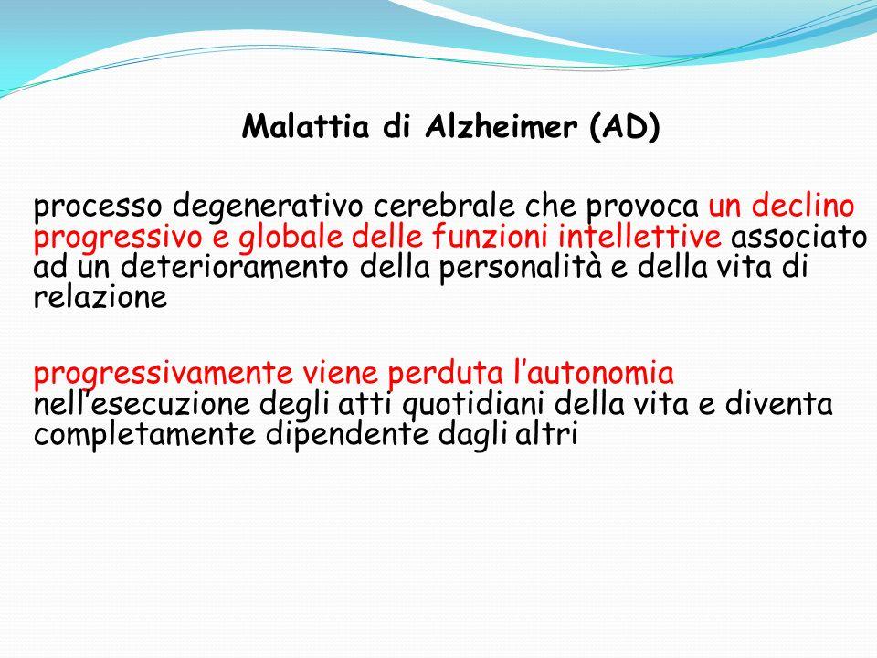Malattia di Alzheimer (AD) processo degenerativo cerebrale che provoca un declino progressivo e globale delle funzioni intellettive associato ad un deterioramento della personalità e della vita di relazione progressivamente viene perduta l'autonomia nell'esecuzione degli atti quotidiani della vita e diventa completamente dipendente dagli altri